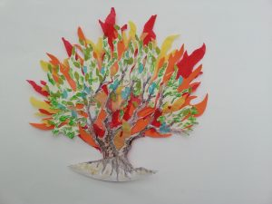 Image of burning bush crafted from paper