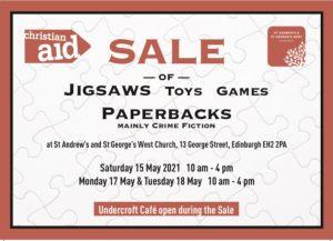 flyer for the Christian Aid MiniSale at St Andrew's and St George's West in May 2021